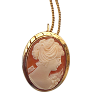 REDUCED 1950s Genuine Carved Cameo Pendant - Brooch, Beautiful!