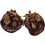 REDUCED Miriam Haskell Art Glass Tortoise Shell Look Earrings, Fabulous!