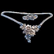 REDUCED Krementz Fancy Rhinestone Set, Necklace & Earrings, 1940s - 50s