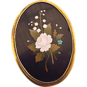 "REDUCED Antique 4"" Tall Pietra Dura Brooch, Italian Marble Inlaid Gems, 9ct. Frame Huge!"