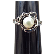 REDUCED Sterling Silver Asian Handcrafted Real Pearl Ring!