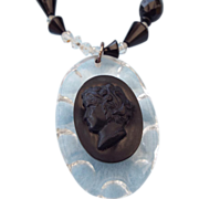 SALE 1940s Lucite & Crystal Mourning Cameo Necklace!
