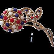 REDUCED Classic Americana Rhinestone Floral Brooch, Opaque Stones