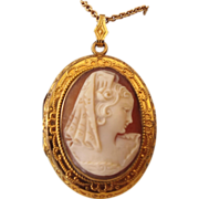 SALE 1940s Carved Real Cameo Locket Pendant & Chain, Gold Filled!