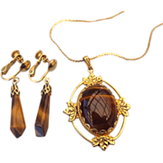 REDUCED Natural Tiger Eye Gemstone Set, Pendant Necklace & Earrings!