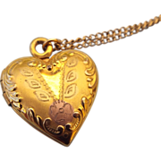 """SALE Gold Filled Fancy Locket Hold Two Photos, Says """"I Love You"""" on the back"""