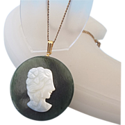 SALE Jade Hardstone Gemstone Cameo Pendant Necklace!