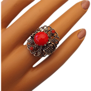 REDUCED 1950s West German Filigree Ring, Red Stones!