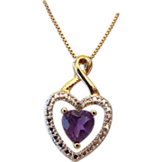 SALE Gold Vermeil & Amethyst Heart Gift Necklace!