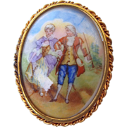 SALE French Limoges Signed Cameo Brooch, Trombone Clasp!