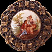 SALE Mid Century Filigree Framed Porcelain Cameo Brooch, Beautiful!