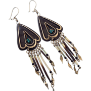 REDUCED Unique Organic Long Drop Earrings, Mixed Materials, 1940s - 50s!