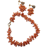 REDUCED Real Branch Coral Bracelet & Earrings, 1930s - 40s