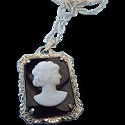 SALE 1930s Molded European Glass Cameo Pendant!