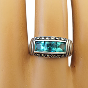REDUCED Vintage Band Ring With Three Square Cut London Blue Topaz!