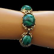 REDUCED Bold 1960s Faux Malachite Cabochon Bracelet!
