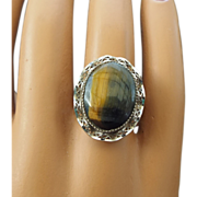 REDUCED Sterling Filigree Mounted Tiger Eye Ring, Beautifully Crafted!
