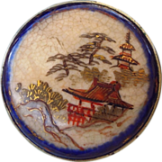 REDUCED Antique Japanese Handpainted 19th Century Satsuma Pin, Wonderful Asian Treasure!