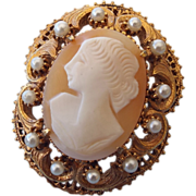 SALE Signed Florenza Real Carved Cameo Brooch With Pendant Fob!