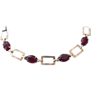REDUCED Fine Sterling Silver Art Deco Bracelet With Deep Red Stones, Gorgeous!