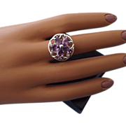 REDUCED Flower Design Natural Amethyst Ring, Excellent Condition, Sterling Mounting!
