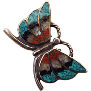 REDUCED Native American Crafted Inland Gemstone Ring, Butterfly Motif!