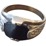 REDUCED 1930s Art Deco Sterling Silver & Black Onyx Ring, Size 7