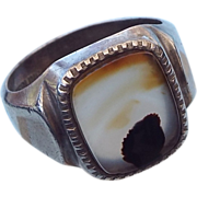 REDUCED 1940s Sterling Silver Banded Agate Cabochon Ring, Size 11!