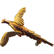 REDUCED 14k Rose & Yellow Gold Vintage Figural Pheasant Pin, Excellent Condition