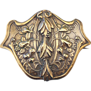 SALE Art Nouveau Brooch Authentic 1900s Floral Motif Repousse' Sash Pin