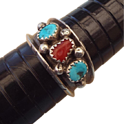 SALE Navajo Crafted Sterling Band Ring With Gemstones!