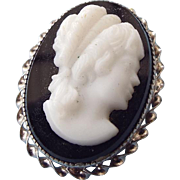REDUCED Sterling Hardstone Cameo Set, Pendant - Brooch with Pierced Earrings!