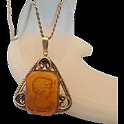 SALE 1960s Topaz Glass Intaglio Cameo Pendant Necklace, Wonderful Vintage!