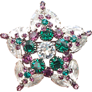 REDUCED Fancy Star Shape Rhinestone Brooch, 1950s Beautiful Stones!