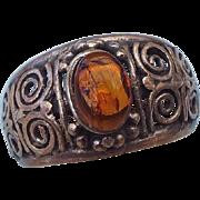 REDUCED Older Filigree Handmade Sterling & Amber Ring, Very Fine Detail!