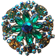 REDUCED 1950s Fancy Rhinestone Brooch with Molded Cabochons, prong set stones!