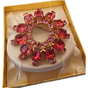REDUCED 1950s Pink and Rose Rhinestone Brooch, Prong Set Stones, Goldtone mounting!