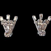 SALE 1940s Fabulous Crystal Rhinestone Ear Climber Earrings, Elegant Vintage!