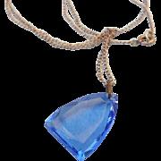SALE Fabulous Art Deco Cobalt Faceted Pendant Necklace, Sterling Chain, Thumb tip Clasp!