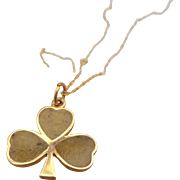 REDUCED Celtic Mid-Century 9ct. Gold and Connemara Marble Clover Pendant From Ireland, Hallmar