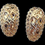 SALE Gold Vermeil Filigree Huggie Pierced Earrings, Beautiful!