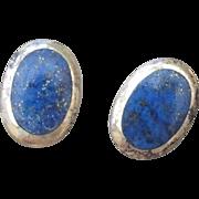 SALE Sterling Lapis Inlaid Gemstone Pierced Earrings, Marked 925!