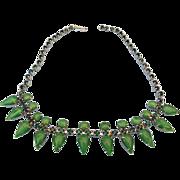 SALE Vintage Shades of Green Rhinestone Choker, Lovely Holiday Treasure!