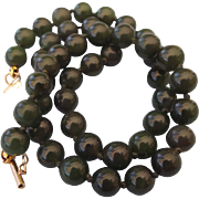 REDUCED Genuine Asian Knotted Jade Necklace, 14k Yellow Gold Fancy Clasp with Safety!