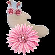 SALE Classic 1950s Enamel Flower Power Set, Big Brooch and Earrings!
