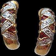 SALE Unsigned Lind Vintage Garnet Half Hoop Earrings for Pierced Ears!
