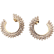 SALE Mid Century 14k Yellow Gold Single Cut Diamond Earrings One Carat Total Weight Fabulous A