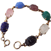 SALE Egyptian Revival Scarab Bracelet, Molded Glass Cabochons, Beautiful Colors!
