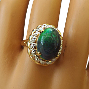 SALE Extremely Rare Ammonite Gemstone Cabochon Ring Surrounded with Diamonds, 14k Mounting!