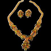 SALE Fancy 1960s Rhinestone Set Choker Necklace and Earrings, Navette Stones!